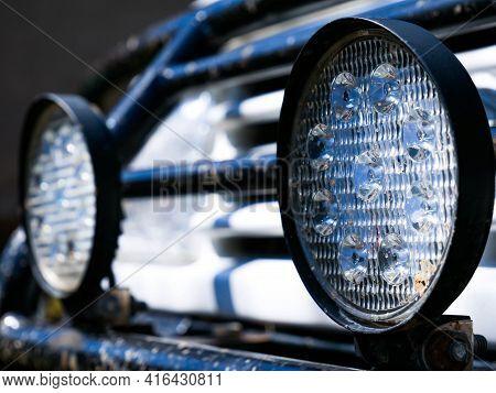Led Lights On Dirty Off Road Car Close Up Shot