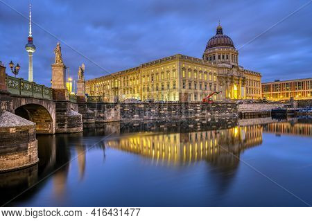 The Reconstructed Berlin City Palace With The Television Tower At Night