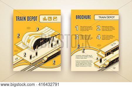 Railway Transport Company Isometric Vector Advertising Brochure, Promotional Leaflet Or Annual Repor