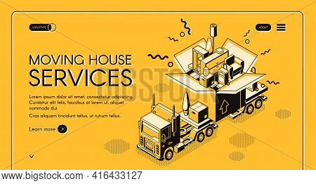 House Moving And Relocation Service Isometric Vector Web Banner. Cargo Truck Carrying Huge Cardboard