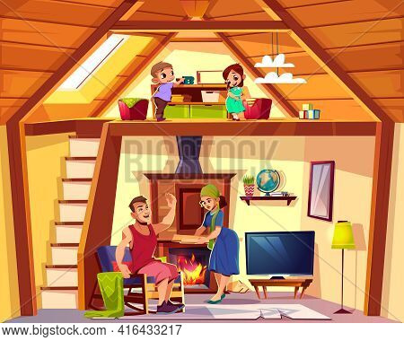 Vector Cartoon Interior Of House With Happy Family, Children Play On Attic, Man And Woman In Living