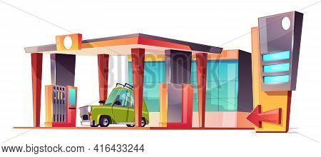Vector Cartoon Gas Station With A Green Car. Refueling Vehicle, Petrol Shop Isolated On White Backgr