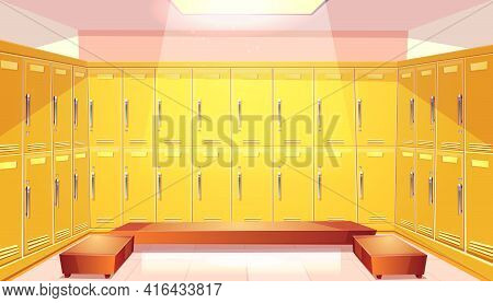 Vector Cartoon School Wardrobe, Changing Room. Background With Bright Yellow Lockers For Football Or