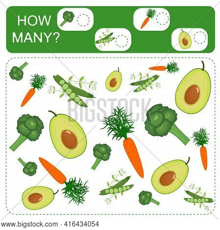 Educational Counting Math Game For Preschool Children. Count The Number Of Avocados, Peas, Carrots A