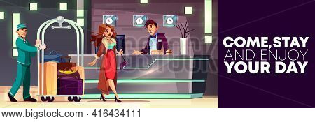 Vector Cartoon Background Of Reception With Rich Lady And Bellboy. Service Of Hotel, Banner With Peo