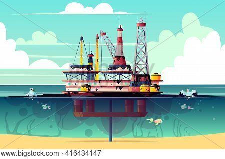 Vector Cartoon Illustration Of Oil Rig In Ocean, Sea. Offshore Derrick With Pollution - Environmenta