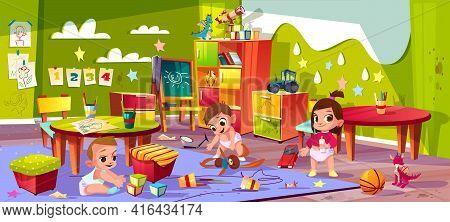 Vector Cartoon Kindergarten - Boys And Girl Playing Together. Children In Diapers, Montessori School