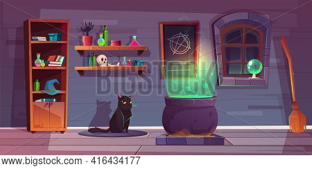 Vector Game Background Of Witch House With The Black Cat, Stuff For Magic. Shelves With Potions, Big