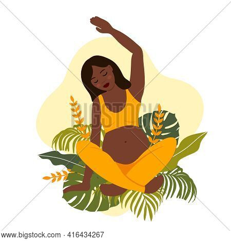 African Woman And Nature Elements. Yoga Pregnant Women Concept. Relax, Meditation For The Expectant