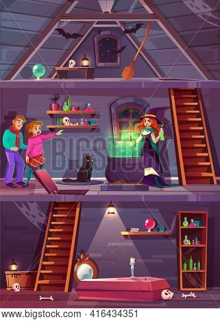 Vector Cross Section Of Witch House With Cellar And Attic. Quest Game, Rpg Background With Players,