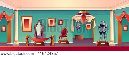 Vector Castle Museum Hall With The Throne, Knight Armor And Chair. Background With The Medieval Exhi