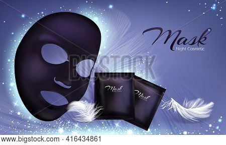 Vector 3d Realistic Banner With Black Sheet Facial Cosmetic Mask And Sachet. Skincare Poster, Mock U