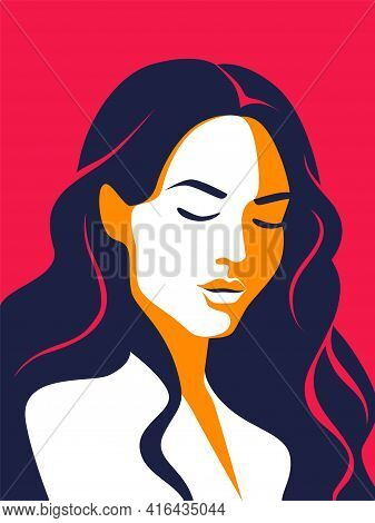Trendy Woman Poster. Minimalist Portrait. Female With Closed Eyes And Long Loose Hair. Contemporary