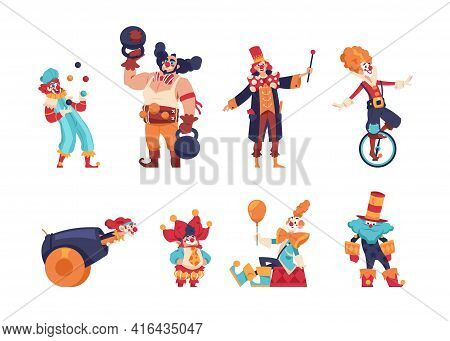 Clowns. Cartoon Jokers And Jesters Comedians With Funny Faces. Circus Artists Performing Tricks. Jug