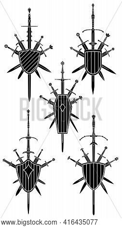Set Of Simple Black Vector Images Of Five Crossed Swords With Medieval Two-handed Sword In Center Co