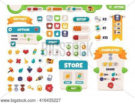 Game Ui Buttons. Mobile Application Interface Elements. Cartoon Colorful Design. Progress Bar, Panel