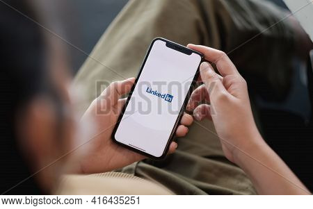 Chiang Mai, Thailand - Apr 11, 2021: Iphone Xs With Linkedin Application On The Screen. Linkedin Is