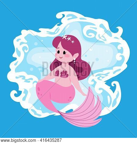 Cute Fairy Mermaid. Little Girl With Pink Fish Tail. Cartoon Marine Princess And Ocean Waves. Funny