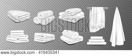 Bath Towels. Realistic White Hospital And Hotel White Bathroom Hanging Terry Cloth. 3d Fluffy Fabric