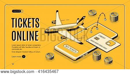 Booking Airline Tickets Online Isometric Vector Web Banner. Credit Card, Flying Passenger Airliner,