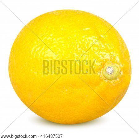 Isolated Lemon. One Whole Lemon Citrus Fruit Isolated On White Background With Clipping Path
