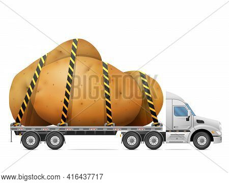 Road Transportation Of Ripe Potato Tubers. Delivery Of Raw Potato Heap In Back Of Truck. Vector Illu