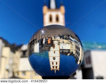 St. Gangolf Church Tower - The Tallest In Trier, Rhineland-palatinate, Germany. Distorted Upside Dow