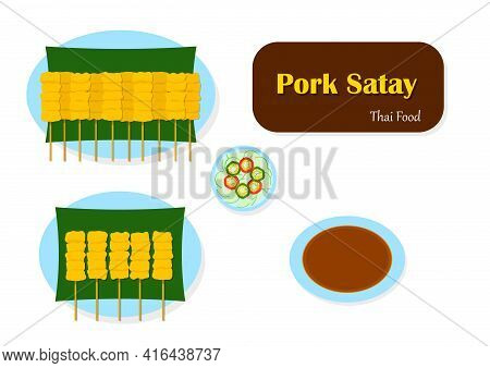 Satay Pork And Peanut Sauce Vector, Top View