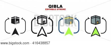 Qibla Icon Set With Different Styles. Icons Designed In Filled, Outline, Flat, Glyph And Line Colore