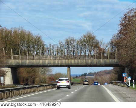 Road A1 From Luxembourg To Trier. Old Animal Crossing Bridge Spanning Over Dual Carriage Motorway. S