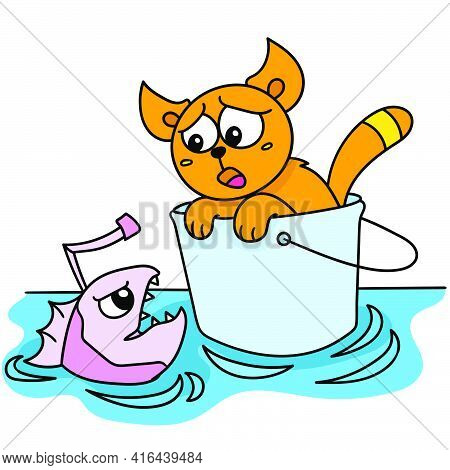 A Cat On A Bucket Washed Away And Met A Fish, Doodle Draw Kawaii. Vector Illustration Art