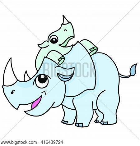 Rhino Cubs Playing With Their Cubs With Happy Smiling Faces, Doodle Draw Kawaii. Vector Illustration