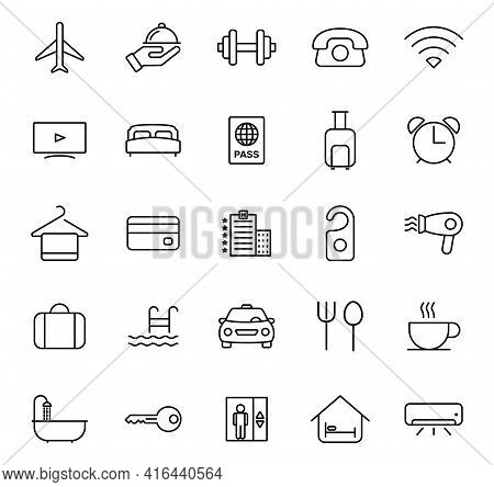 Hotel Outline Vector Icons Isolated On White. Hotel Icon Set For Web And Ui Design, Mobile Apps And