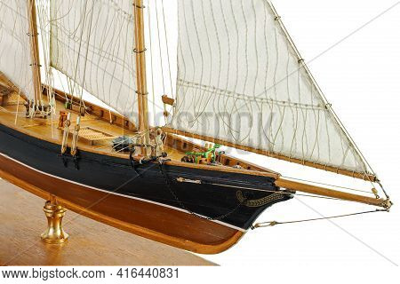 Handmade Model Sailing Ship. Beautiful Handmade Model Sailboat Of America New York 1851 Isolated On