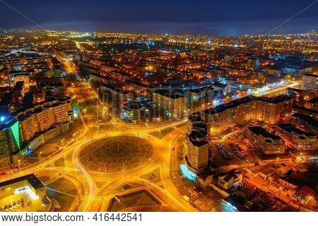 Aerial View Of Galati City, Romania. Night City Lights