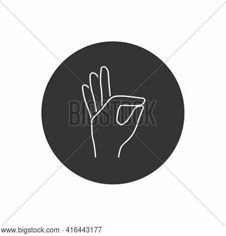 Gesture Okay Solid Line White Icon. Ok Hand Gesture Vector Illustration Isolated