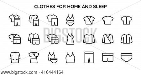 Collection Of Linear Icons Of Clothes For Home And For Sleep. Home Clothes. Nightwear Sets. Homewear