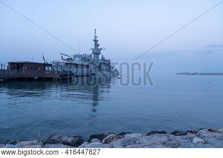 Balcova, Izmir, Turkey - 03.09.2021: Turkish Attack Submarine Called S-343 And Frigate Called Tcg Eg