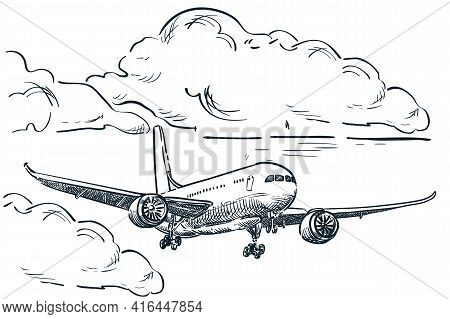 Plane Flies In Sky Vector Sketch Illustration. Air Travel, Tourism Flight Hand Drawn Isolated Design