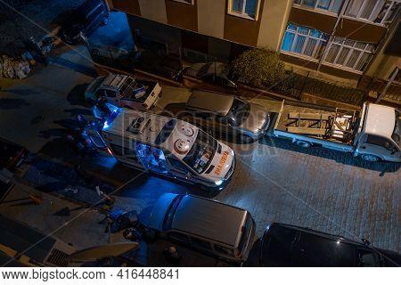 Taksim, Istanbul, Turkey - 03.14.2021: One Turkish Ambulance Taking A Patient While On Duty On Back
