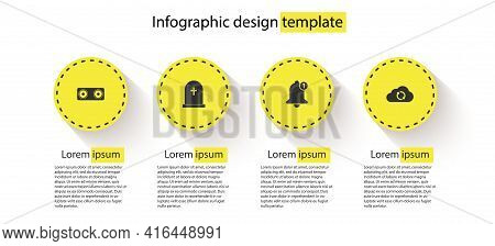 Set Stereo Speaker, Tombstone With Cross, Bell And Cloud Sync Refresh. Business Infographic Template