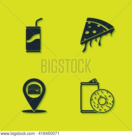 Set Soda Can With Drinking Straw, Aluminum Soda And Donut, Location Burger And Slice Of Pizza Icon.