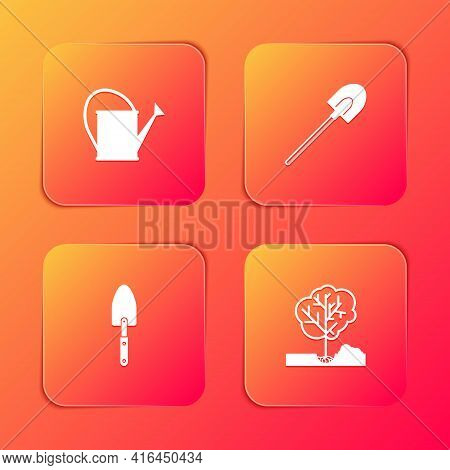 Set Watering Can, Garden Shovel, Trowel Spade Or And Planting Tree The Ground Icon. Vector