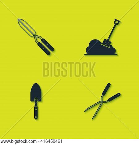 Set Gardening Handmade Scissor, , Trowel Spade Shovel And Shovel The Ground Icon. Vector