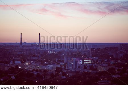 Nizhny Novgorod, Russia - 08.21.2020 - Nizhny Novgorod City Dusk Lights. Beautiful Scenic Evening Ti