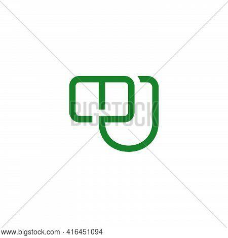 Letter Mu Simple Linked Line Geometric Flat Logo Vector