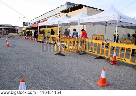 Elche, Alicante, Spain- April 6, 2021: Elderly People Attending At Mass Vaccination Center And Adapt