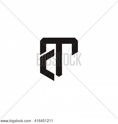 Letter Ct Simple Linked Line Geometric Logo Vector
