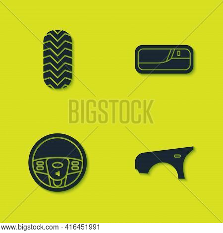 Set Car Tire, Fender, Steering Wheel And Door Handle Icon. Vector
