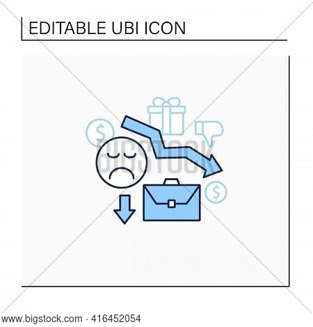 Motivation Line Icon. Reduce Work Motivation. Work Trouble. Unhappy Workers. Efficiency Decline.univ